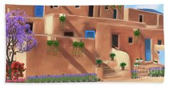 Taos Pueblo With Flowers Beach Sheet by Walter Colvin