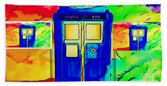 Tardis Three Beach Sheet by Justin Moore