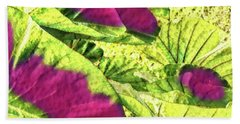 Taro Leaves In Green And Red Beach Towel