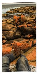 Tasmanian Tourist Kicking Back  Beach Towel