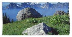 1m4862-tatoosh Range And Mt. St. Helens  Beach Towel