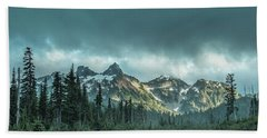 Tatoosh With Storm Clouds Beach Towel