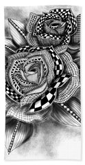 Tattoo Rose Greyscale Beach Sheet