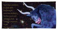 Taurus Birthday Zodiac Astrology Beach Towel