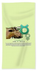 Taurus Sun Sign Beach Towel