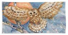Tawny Owl And Hunters Moon  Beach Sheet
