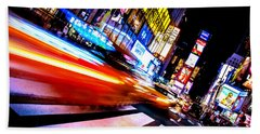 Taxis In Times Square Beach Towel by Az Jackson