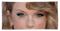 Taylor Swift Beach Towel by Samuel Majcen
