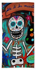 Beach Towel featuring the painting Te Amo Painter Dia De Los Muertos by Pristine Cartera Turkus