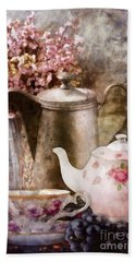 Tea And Grapes Beach Towel by Mo T