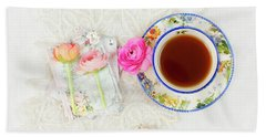 Tea And Journals With Ranunculus Beach Towel