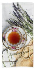 Beach Towel featuring the photograph Tea And Lavender 3 by Rebecca Cozart