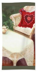 Beach Towel featuring the painting Tea In A Victorian Cottage Garden by Nancy Lee Moran