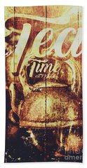 Tea Time Tin Sign Beach Towel