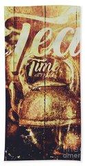 Tea Time Tin Sign Beach Towel