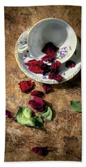 Teacup And Red Rose Petals Beach Sheet