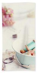 Teacup Full Of Vintage Spools Of Thread Beach Sheet