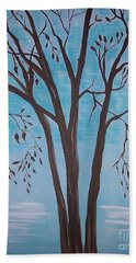 Beach Towel featuring the painting Teal And Brown by Leslie Allen