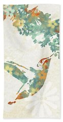 Floral Hummingbird Art Beach Towel