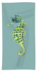 Teal Green Seahorse Beach Towel by Amy Kirkpatrick