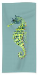 Teal Green Seahorse Beach Sheet by Amy Kirkpatrick