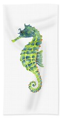 Teal Green Seahorse - Square Beach Towel by Amy Kirkpatrick