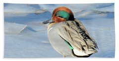 Teal On The Rocks Beach Towel
