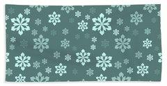 Teal Snowflake Pattern Beach Towel