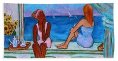 Beach Towel featuring the painting Teatime I by Xueling Zou