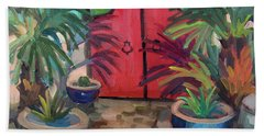 Beach Towel featuring the painting Tecate Garden Gate by Diane McClary