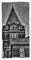 Tech B W Georgia Institute Of Technology Atlanta Georgia Art Beach Towel