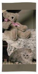Teddy Bear And Ccat Beach Towel