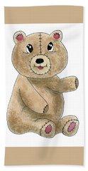 Teddy Bear Watercolor Painting Beach Sheet
