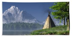 Beach Towel featuring the digital art Teepee By A Lake by Daniel Eskridge