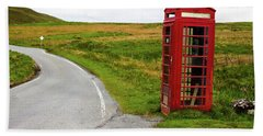 Telephone Booth On Isle Of Skye Beach Sheet by Davorin Mance