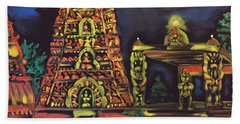 Beach Towel featuring the painting Temple Lights In The Night by Brindha Naveen