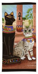 Beach Towel featuring the painting Temple Of Bastet - Bast Goddess Cat by Carrie Hawks