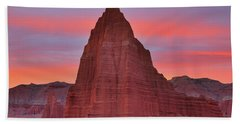 Temple Of The Sun And Moon At Sunrise At Capitol Reef National Park Beach Sheet