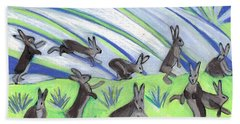 Beach Towel featuring the painting Ten Leaping Hares by Denise Weaver Ross