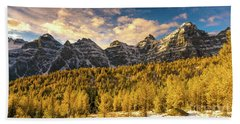Ten Peaks Canadian Rockies And Golden Fall Larch Colors Beach Towel