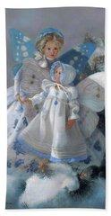 Beach Towel featuring the painting Tenderness Snow Fairies by Nancy Lee Moran
