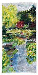 Beach Towel featuring the painting Tending The Pond by Mary K Conaboy