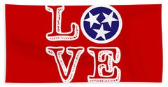 Beach Towel featuring the digital art Tennessee Flag Love by Heather Applegate