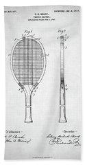 Tennis Racket Patent 1907 Beach Towel