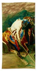 Tent Pegging Sport Beach Towel by Khalid Saeed