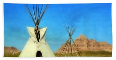 Tepee In Badlands Beach Sheet by Teresa Zieba