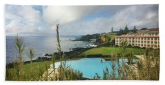 Beach Towel featuring the photograph Terceira Mar Holtel And Atlantic Ocean by Kelly Hazel