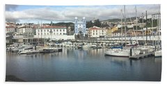 Beach Towel featuring the photograph Terceira Port And Angra Do Heroismo by Kelly Hazel