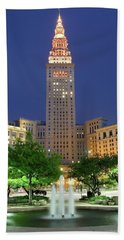 Terminal Tower Beach Towel by Frozen in Time Fine Art Photography