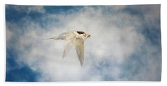 Tern In Flight With Fish Beach Towel
